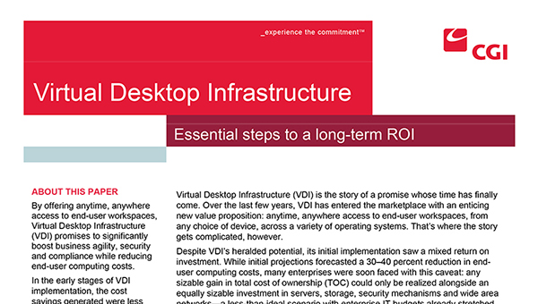 CGI Federal: Virtual Desktop Infrastructure (White Paper)